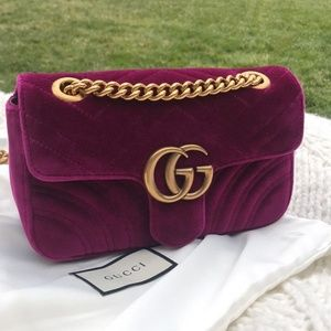 NEW GUCCI Velvet GG Marmont MINI